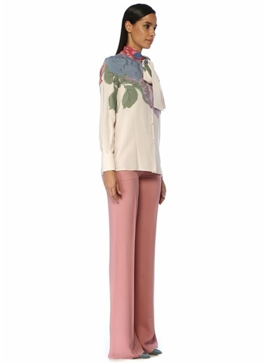 Valentino Valentino  Yakası Bağcıklı Çiçek Baskılı İpek Bluz 101487107 Pembe
